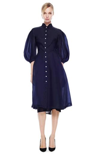 Trapeze Skirt Midi Dress With Voluminous Sleeves by NATASHA ZINKO for Preorder on Moda Operandi