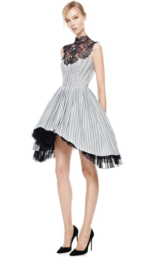 Striped Dress With Side Draped Skirt And Lace Plastron by NATASHA ZINKO for Preorder on Moda Operandi