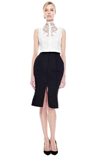 Fitted Blouse With Lace Plastron by NATASHA ZINKO for Preorder on Moda Operandi