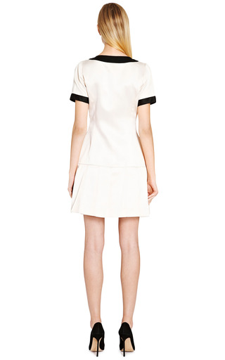 Chanel White Satin Dress With Black Trim From What Goes Around Comes Around by COLLECTIBLE JACKETS for Preorder on Moda Operandi