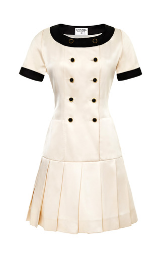 Medium collectible jackets white chanel white satin dress with black trim from what goes around comes around