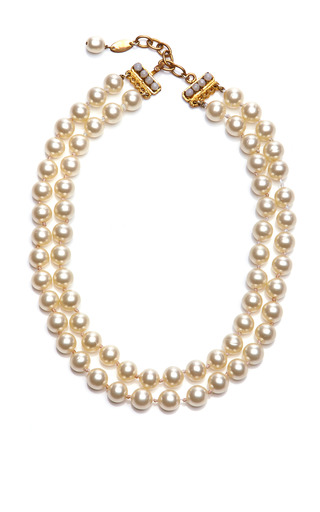 Medium collectible jackets gold chanel double strand pearl necklace from what goes around comes around
