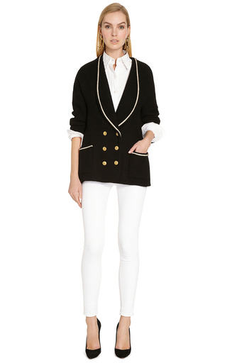 Chanel Black And Cream Wool Sweater From What Goes Around Comes Around by COLLECTIBLE JACKETS for Preorder on Moda Operandi