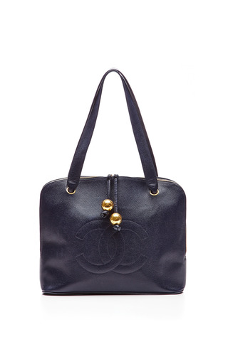 Medium collectible jackets blue chanel navy caviar embossed tote bag from what goes around comes around