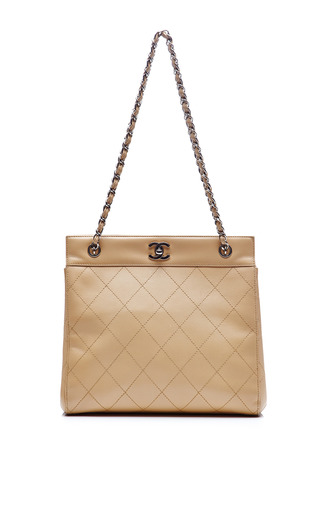 3c84fd50ccab Chanel Beige Lambskin Quilted Tote Bag from What Goes Around Comes Around  by Collectible Jackets | Moda Operandi