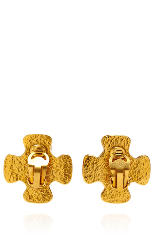 Chanel Red Gripoix And Pearl Cc Earring From What Goes Around Comes Around by COLLECTIBLE JACKETS for Preorder on Moda Operandi