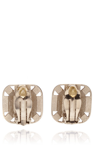 Chanel Square Crystal Earring From What Goes Around Comes Around by COLLECTIBLE JACKETS for Preorder on Moda Operandi