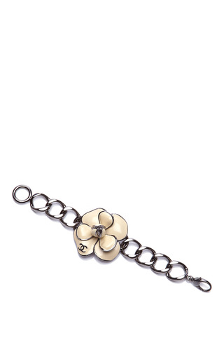 Chanel Silver Bracelet With White Camelia Flower From What Goes Around Comes Around by COLLECTIBLE JACKETS for Preorder on Moda Operandi