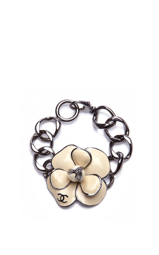 Medium collectible jackets gold chanel silver bracelet with white camelia flower from what goes around comes around