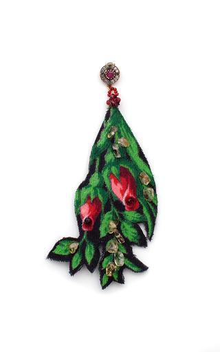 Medium masterpeace green masterpeace individual vintage wool jade earring