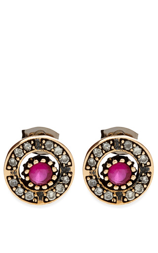 M'o Exclusive: Aquamarine And Garnet Stud Earrings by MASTERPEACE Now Available on Moda Operandi