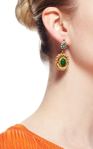 Carved Birch Wood And Malachite Earrings by MASTERPEACE Now Available on Moda Operandi