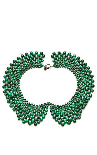 Medium masterpeace green malachite bead czar collar necklace