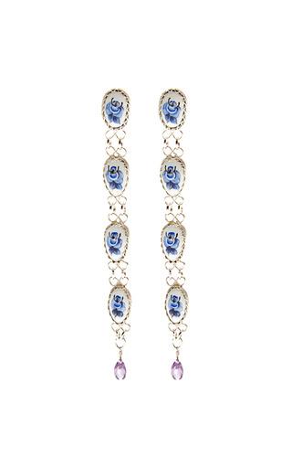 Medium masterpeace blue vintage rose detail drop earrings