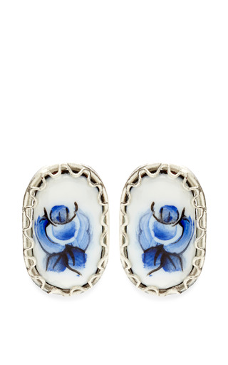 Medium masterpeace blue mo exclusive rose detail stud earrings
