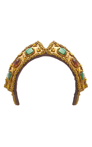 Medium masterpeace gold beaded and embroidered czar headpiece