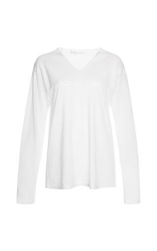 Medium alexander wang ivory featherweight v neck with seamless neck trim