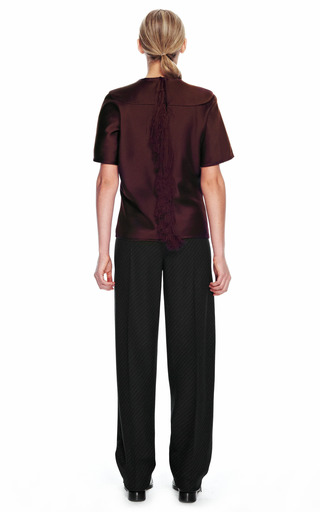 Bias Cut T Shirt With Center Back Fringe by ALEXANDER WANG for Preorder on Moda Operandi