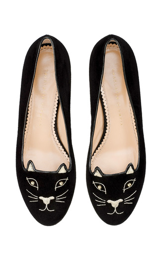 Medium charlotte olympia black kitty studs flat in black