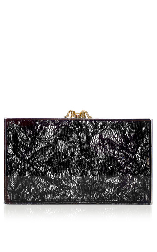 Medium charlotte olympia black lacey pandora clutch in black transparent