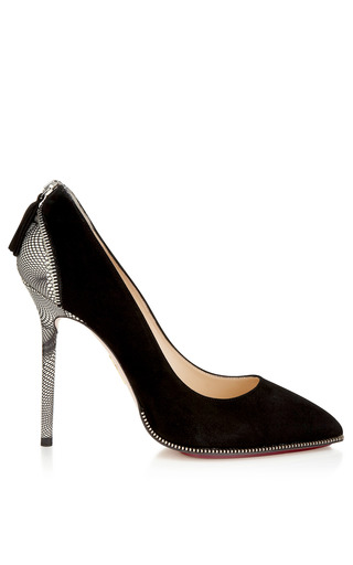 Monroe Unzipped Pump In Black by CHARLOTTE OLYMPIA for Preorder on Moda Operandi