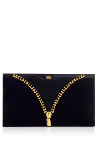 Medium charlotte olympia black pandora unzipped clutch in black