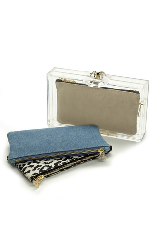 Medium charlotte olympia white pandora clutch with classic inserts