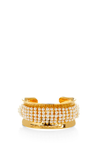 Medium aurelie bidermann gold cheyne walk 18k gold plated and pearl cuff