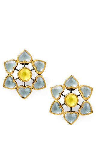 Medium she bee yellow heart flowers earrings in grey yellow