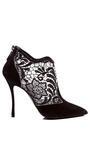 Black Lace Embroidery Suede Bootie by NICHOLAS KIRKWOOD for Preorder on Moda Operandi