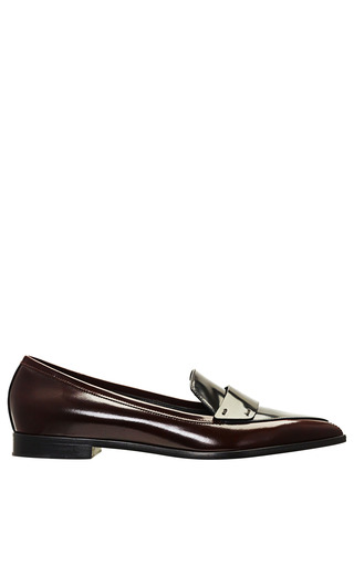 Burgundy Polished Calf Penny Loafer by NICHOLAS KIRKWOOD for Preorder on Moda Operandi