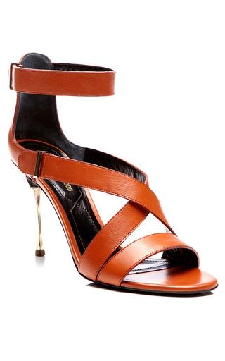 Tan Calf Platino Heel Ankle Strap Sandal by NICHOLAS KIRKWOOD for Preorder on Moda Operandi