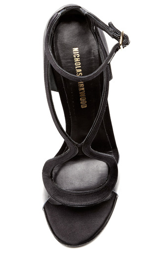Black Suede With Glitter Trim Sandal by NICHOLAS KIRKWOOD for Preorder on Moda Operandi