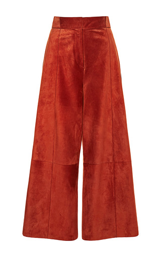 Medium proenza schouler red suede suiting high waist culottes pant
