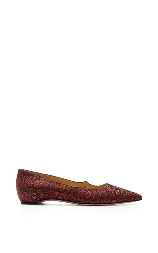 Zoya Pointed Toe Silk Jacquard Flats by PAUL ANDREW Now Available on Moda Operandi