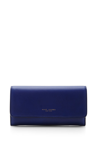 Medium marc jacobs blue double groove wallet in marine lamb leather