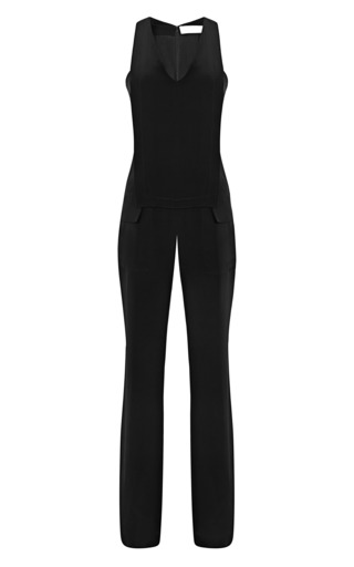 Medium thakoon addition black layered v neck silk jumpsuit