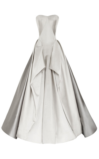Medium zac posen dark grey duchess satin strapless gown 2