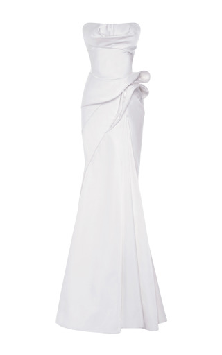 Medium zac posen white duchess satin strapless gown
