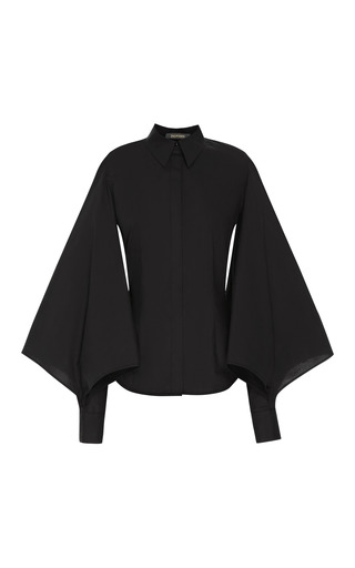 Medium zac posen black stretch cotton blouson shirt