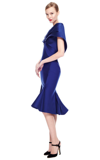 Stretch Duchess Cape Back Dress by ZAC POSEN for Preorder on Moda Operandi