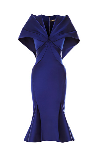 Medium zac posen blue stretch duchess cape back dress