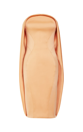 Medium zac posen orange stretch duchess strapless dress