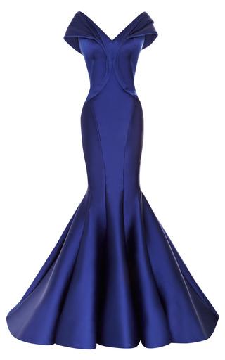 Medium zac posen blue stretch duchess off the shoulder gown 2