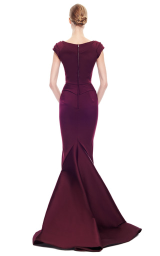Stretch Duchess Off The Shoulder Gown by ZAC POSEN for Preorder on Moda Operandi