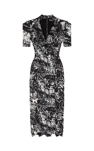 Medium zac posen multi python floral jacquard dress