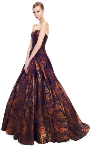 Python Floral Jacquard Strapless Gown by ZAC POSEN for Preorder on Moda Operandi