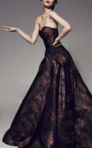 Python Floral Jacquard Strapless Gown by ZAC POSEN for Preorder on Moda Operandi
