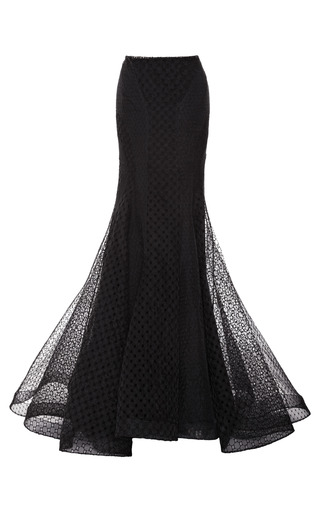 Medium zac posen black embroidered organza skirt