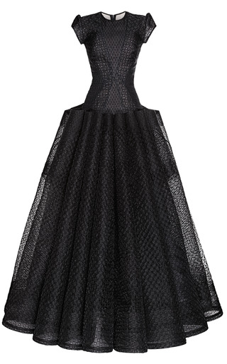 Medium zac posen black embroidered organza gown